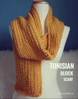 Tunisian Block Scarf